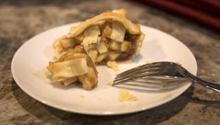 Mini apple pie eaten