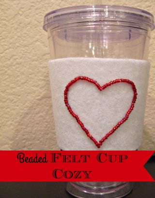 Titled Beaded Felt Cup Cozy