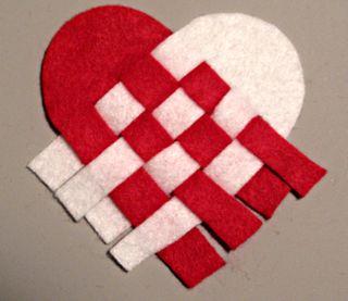 Woven heart for gluing