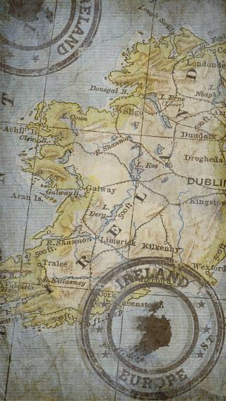 Ireland Map and Postmark