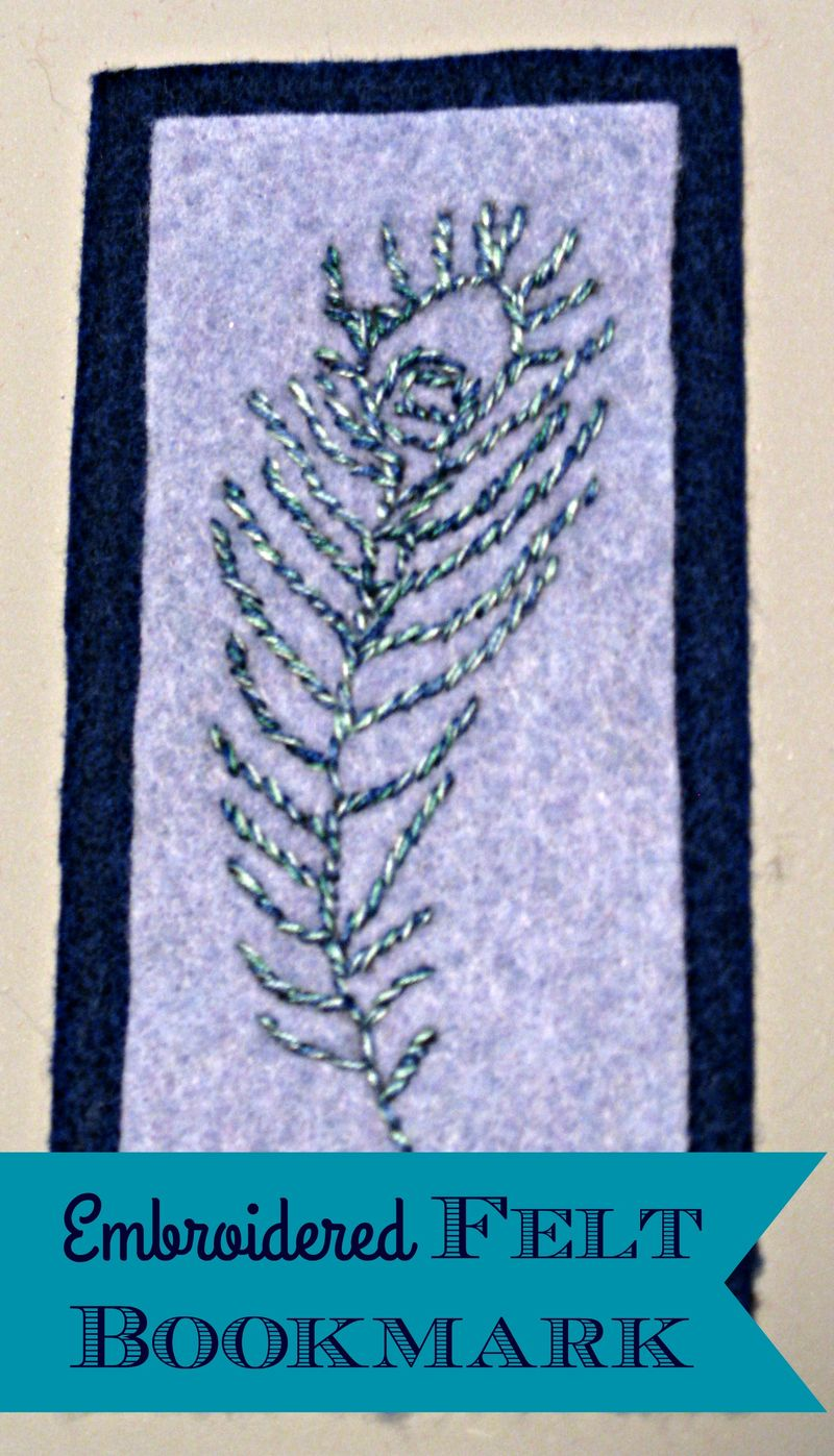 Titled Embroidered Felt Bookmark
